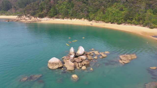 (2/2C)Split Apple rocks in Abel Tasman National park, Kaiteriteri, New Zealand Kaiteriteri, New Zealand. boulder rock stock videos & royalty-free footage