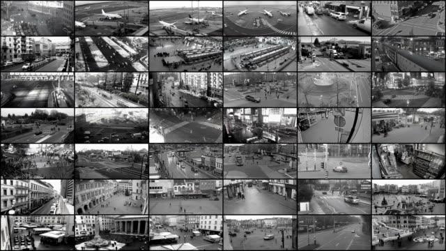 beobachtung splitscreen, security-kamera-ansicht - überwachungskamera stock-videos und b-roll-filmmaterial