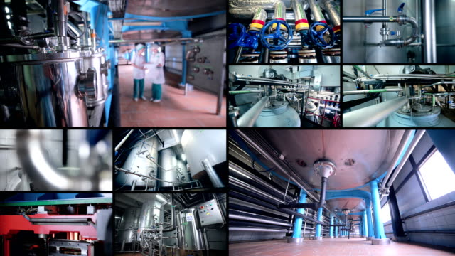 Split screen. Brewery pipes, pipeline. Multiscreen montage. video