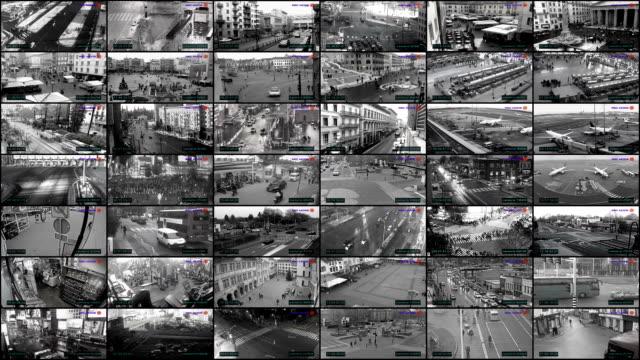 vídeos y material grabado en eventos de stock de pantalla dividida de cctv, control de vigilancia - vigilancia