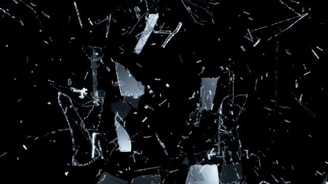 Splitted and Shattered glass with slow motion. Alpha video