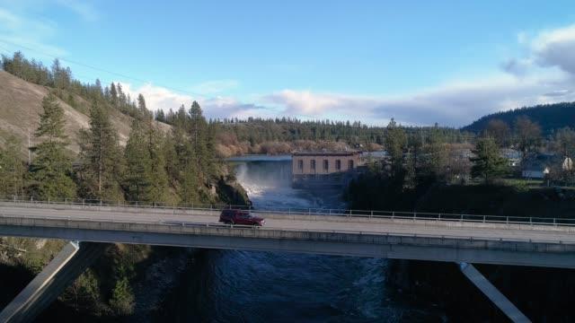 Spokane Waterfall Bridge Transportation Aerial video