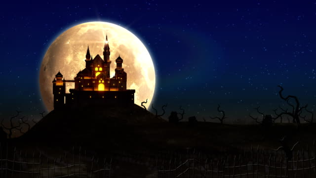 spooky castle halloween background animation 4k - halloween background filmów i materiałów b-roll