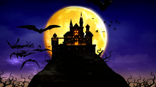 spooky Castle, Haunted mansion ,Creepy Halloween Background 4K.