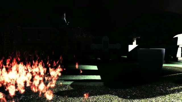 Spooky cemetery video