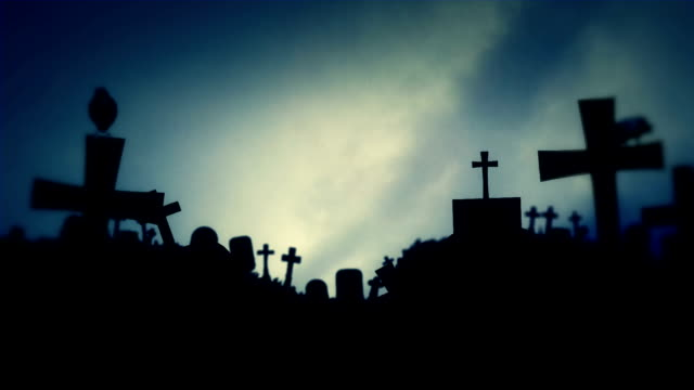 Spooky Cemetery with Ravens Standing on Graves on Full Moon Background Spooky Cemetery with Ravens Standing on Graves on Full Moon Background vampire stock videos & royalty-free footage