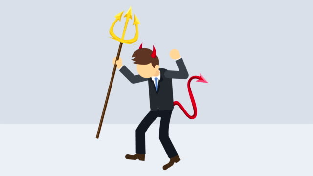 Spooky devil illustration. Business character. Boss. Cosplay. Pitchfork & horn. Abstract loop animation.