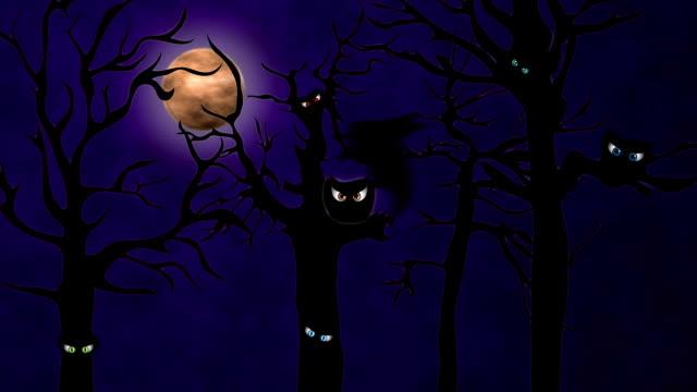 spooky eyes in trees - hd - halloween background bildbanksvideor och videomaterial från bakom kulisserna