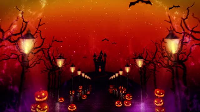不気味なハロウィーンの夜、神秘的な森、ループでカボチャ - ハロウィーン点の映像素材/bロール
