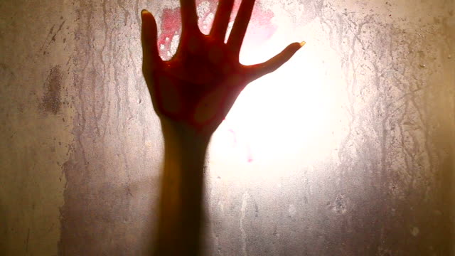 Spooky hand (shadows) female hand and head, spooky shadows on the glass wall, in full HD, Horror movie scene vampire stock videos & royalty-free footage