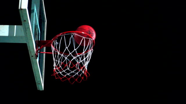 Sport Concepts: Basketball going through the hoop on outdoor court at night. video