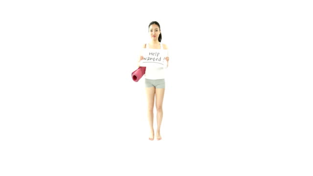 sport girl isolated on white worried with help sign video