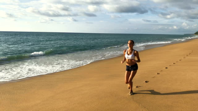 Sport Running Woman Jogging On Beach video