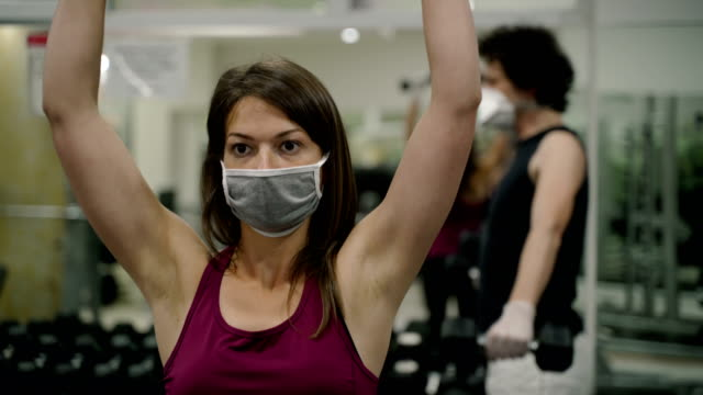 Sport training in the gym after Corona virus pandemic video