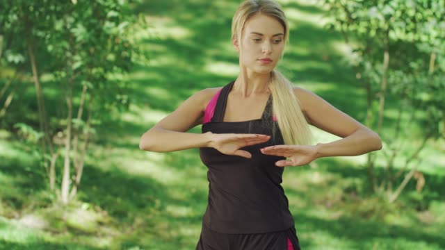 sport woman training stretching exercise in summer park. fitness woman - tułów filmów i materiałów b-roll