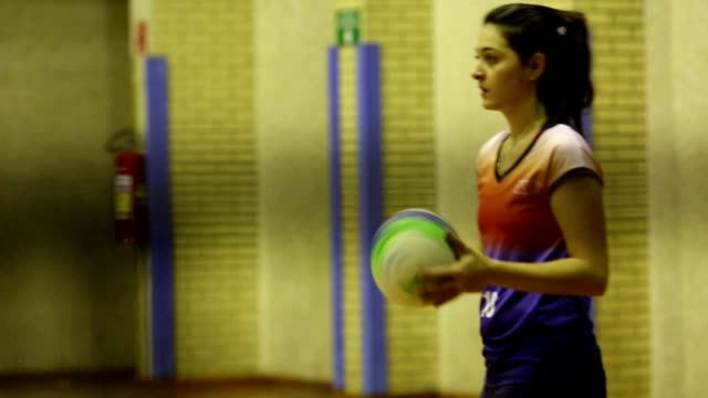 Sportive playing volley ball during indoor match Sportive playing volley ball during indoor match volleyball sport stock videos & royalty-free footage