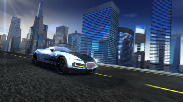 Sports car in city video