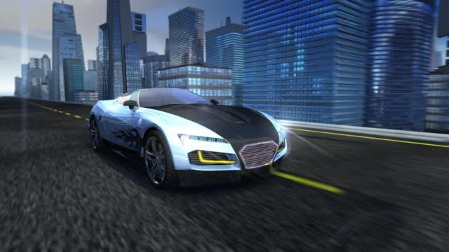 Sports car in city