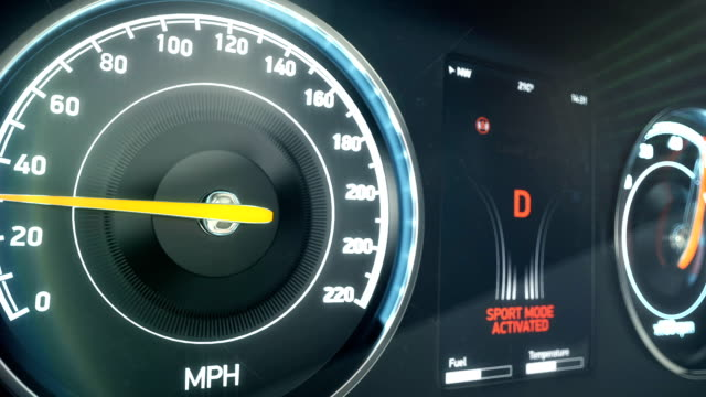Sports car speedometer accelerating speed, launch control, super fast driving video