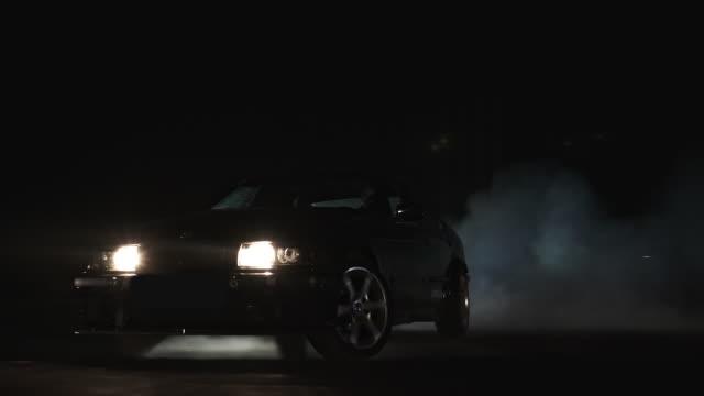 Sports car spinning in drift