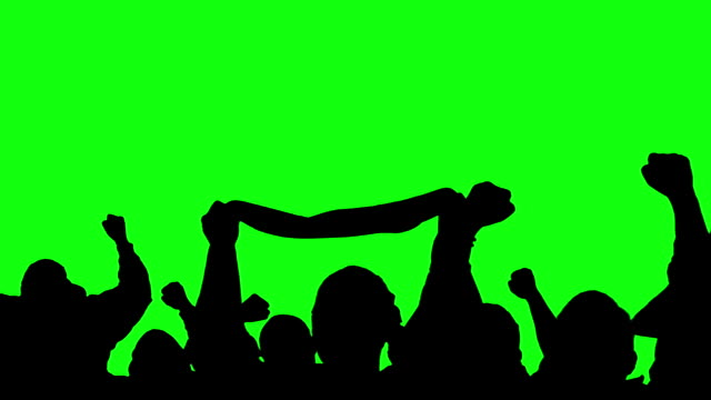 Video Sports crowd, fans, supporters silhouettes cheering on Green Screen