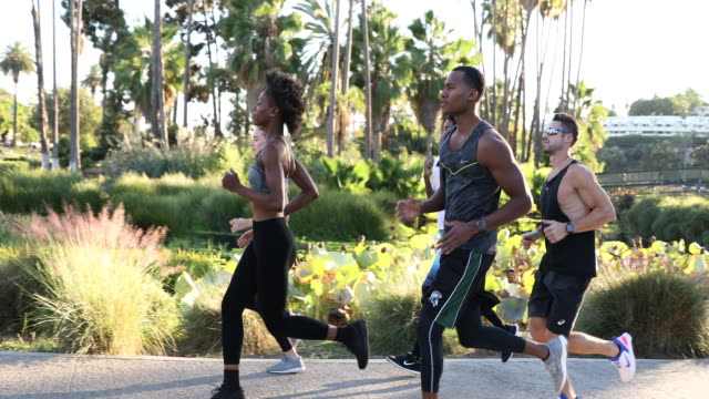 Sports team running in the city. Group of people getting fit - video