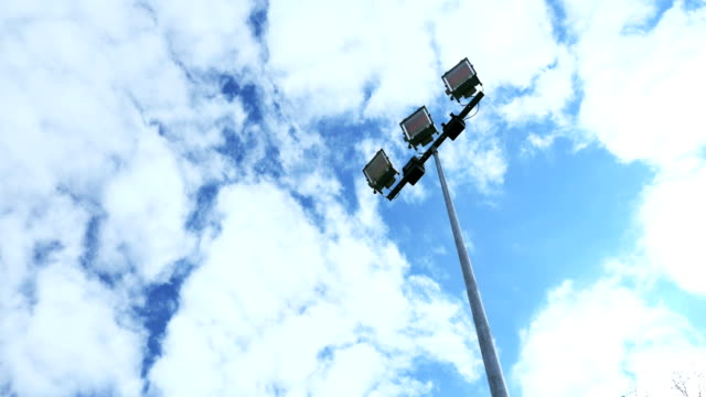 Spotlight, Stadium lights, with blue sky timelapse video
