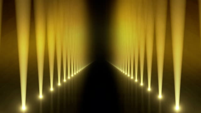 Spotlights on Catwalk Background Loop Yellow video