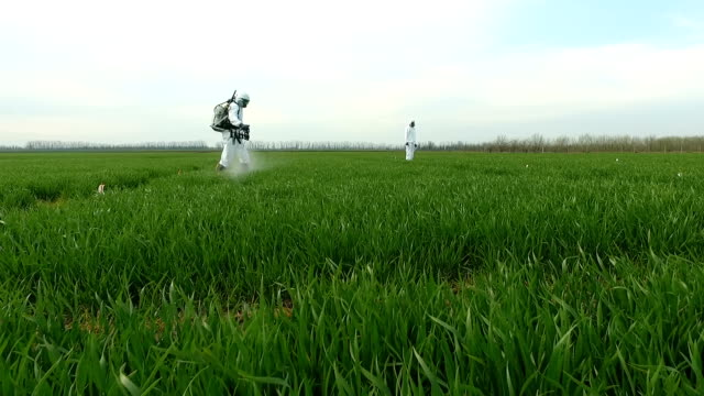 vídeos de stock e filmes b-roll de spraying fields with herbicides . farmer in protective clothing working with a sprayer - pulverizar