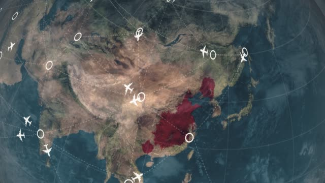 Spread animation from China to America step by step, Novel Coronavirus nCoV spreading all over the world, Worldwide flu epidemic spreads every continent, Global deadly viral infection, Satellite view of influenza virus affected areas.