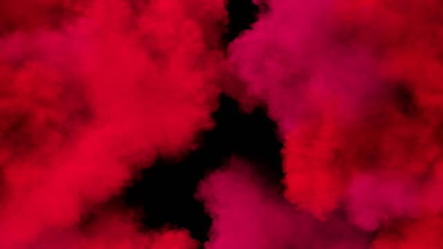 vídeos de stock e filmes b-roll de spreading colored smoke, wiping frame horizontally. long distance. - holi