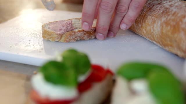 Spreading liverwurst on bread video