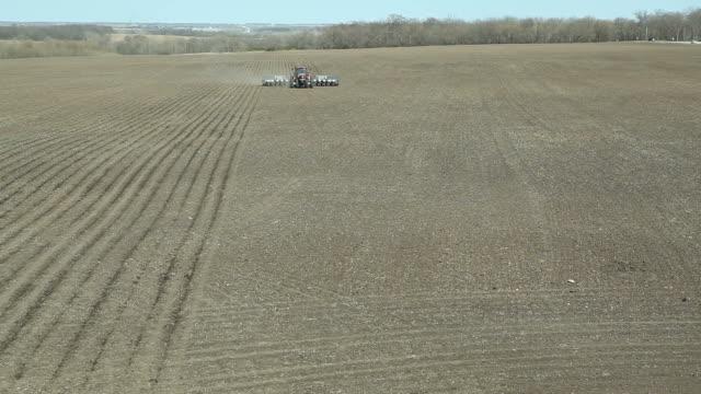 Spring Cornfield Pflanzen Luftaufnahme – Video