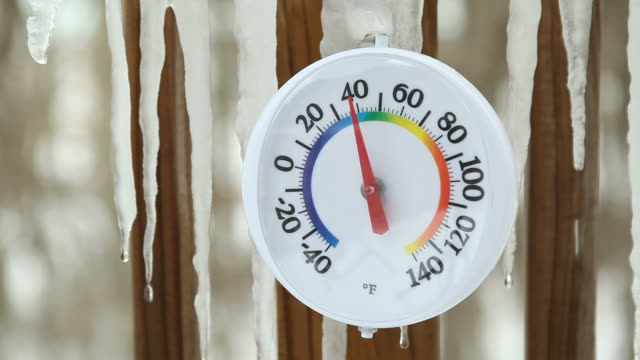 Spring Icicles Melting around Outdoor Thermometer