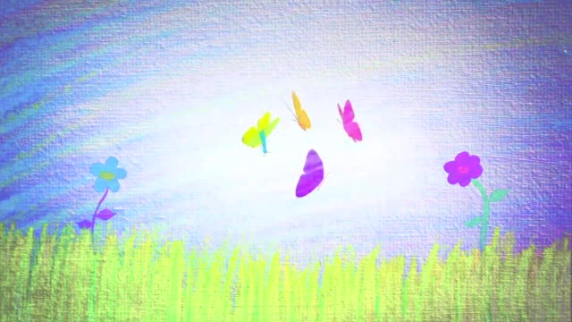 Spring landscape with flowers and butterflies Cartoons made with pencil of a spring landscape with flowers and butterflies butterfly insect stock videos & royalty-free footage