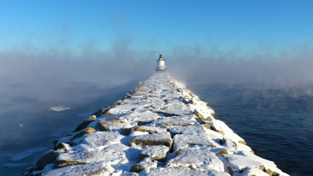 Spring Point Ledge Light in Arctic Sea Smoke video