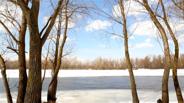 Spring river and snow. Picturesque landscape video