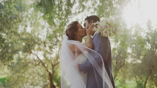 Spring time kisses on their wedding day Passionate diverse couple embracing and kissing in nature on their wedding day, multi ethnic couple sharing a moment together after their marriage ceremony newlywed stock videos & royalty-free footage