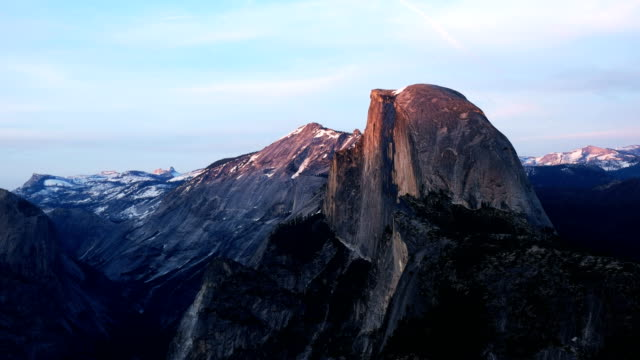 spring time shot of half dome and nevada falls from glacier point