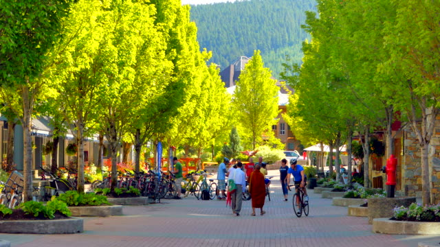 4 k bäume frühling zeit in whistler village, am frühen morgen einkaufen - britisch kolumbien stock-videos und b-roll-filmmaterial