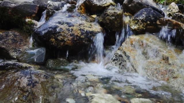 Spring water flowing through rocks in mountain