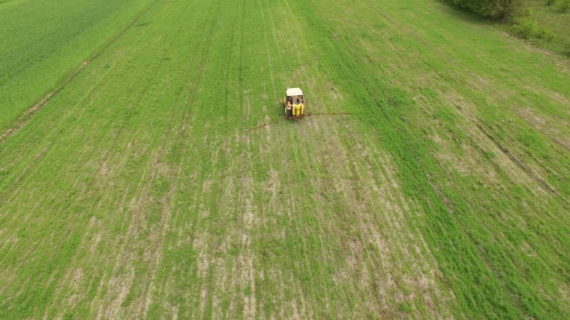 Spring wheat field sprayed video
