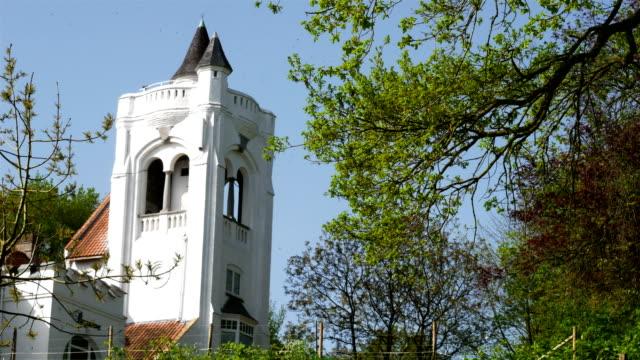 Springtime in Belgium : belvedere tower in green environment video