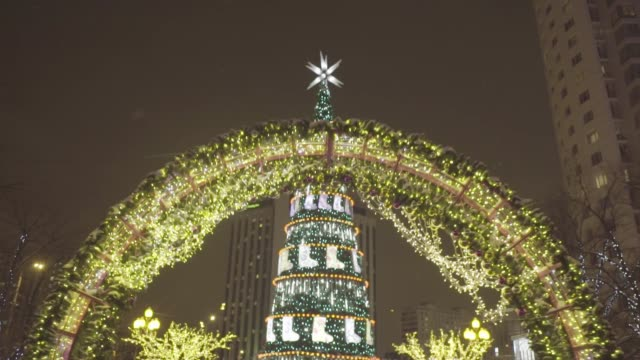 Spruce of garlands at night winter park. Christmas. Christmas decoration background and Christmas tree with golden lights glowing video