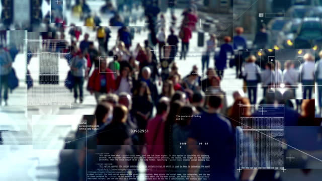 Spying on people in the crowd Video displaying interface for tracking and identifying people in a crowd. eyesight stock videos & royalty-free footage