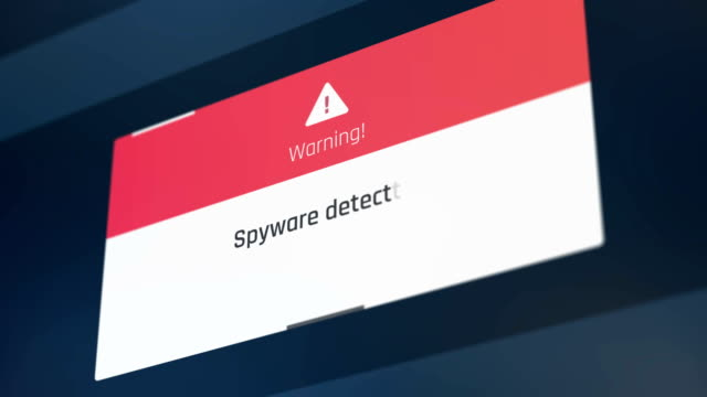 Spyware detected warning message on computer screen, starting antivirus, alert