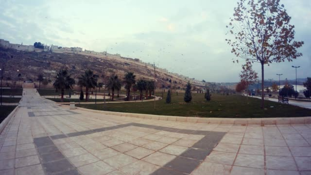 Square near Haleplibahce Ancient Urfa Cavern Town Wintry Evening video