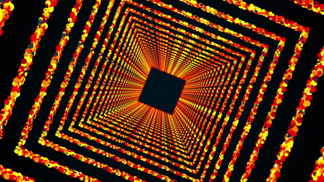 Square rings of colorful round particles form an endless tunnel, computer generated. 3d rendering of bright shiny background