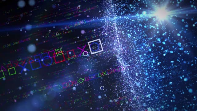 square triangle, circle and x particles changing color in light pasagen square triangle, circle and x particles changing color in light pasagen video game stock videos & royalty-free footage