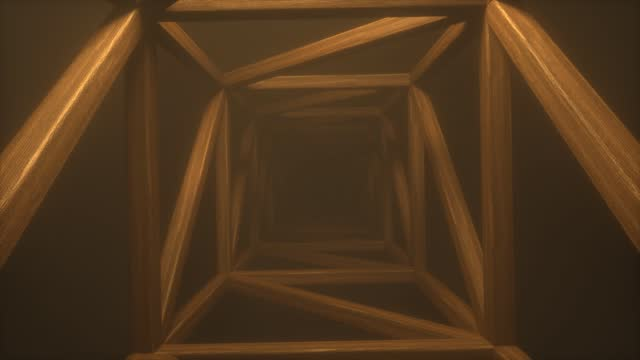 Square wooden endless tunnel with a bright volumetric shimmering orange light. Abstract sci fi background. Corridor. Futuristic concept. Construction of wooden planks. Moving forward. 3d animation
